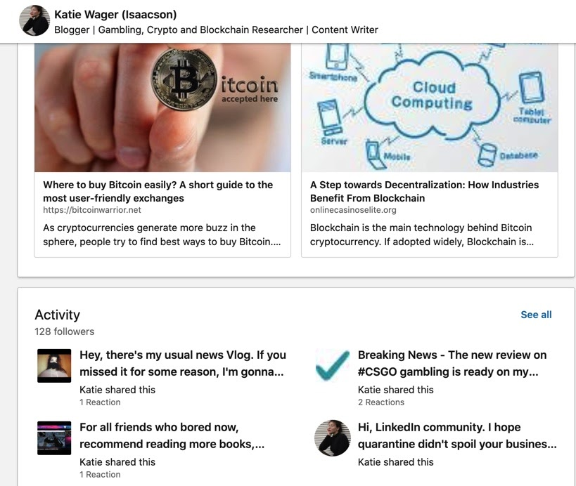 Katie Wager's LinkedIn page
