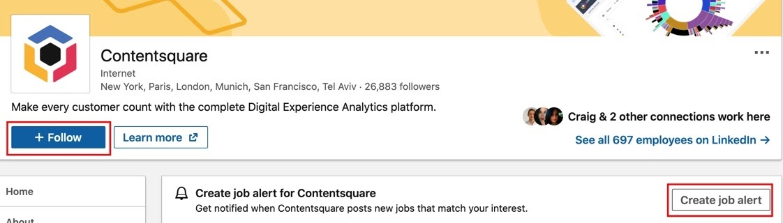 How to follow a job page or create a job alert on LinkedIn
