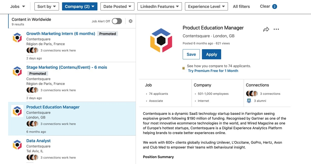 Example job on Contentsquare's LinkedIn page