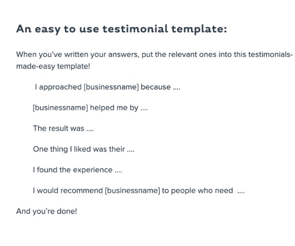 Her Business testimonial example