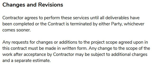 freelance contract template changes and revisions