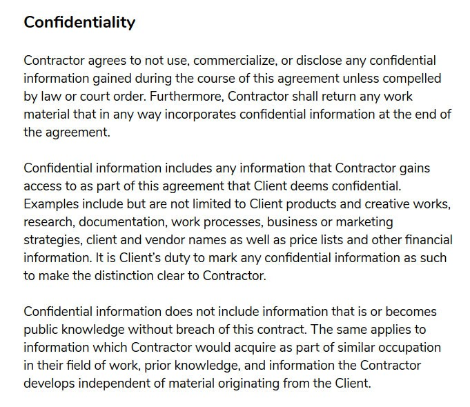 freelance contract template confidentiality agreement