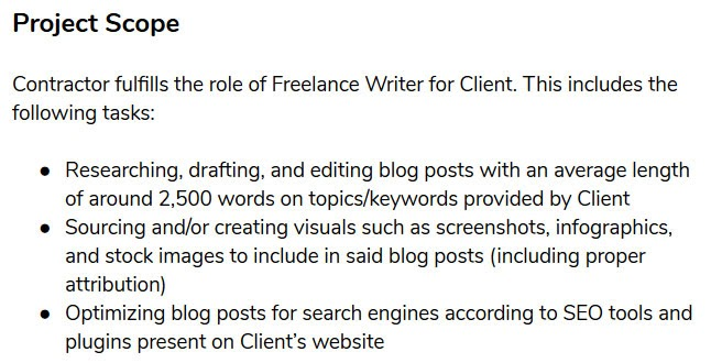 freelance contract template project scope