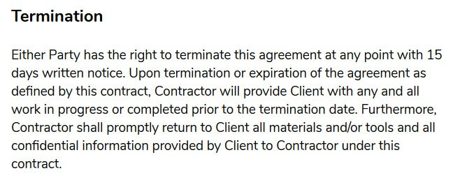 freelance contract template termination
