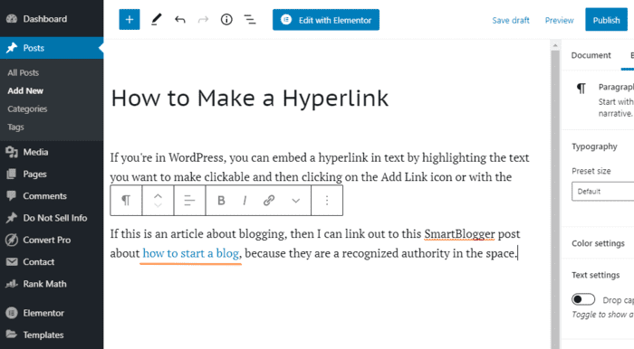 how to make a hyperlink clickable link in text