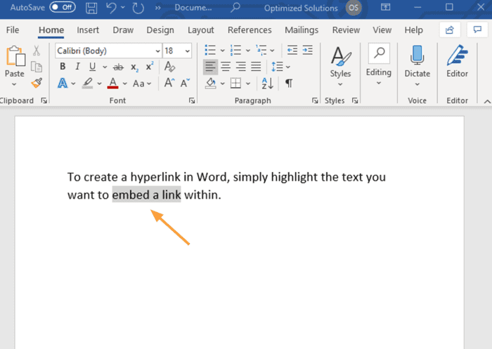 how to make a hyperlink highlight text microsoft word