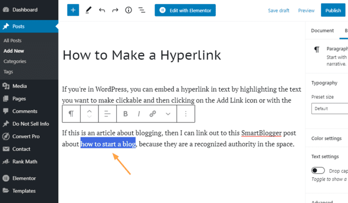 how to make a hyperlink highlight text wordpress post
