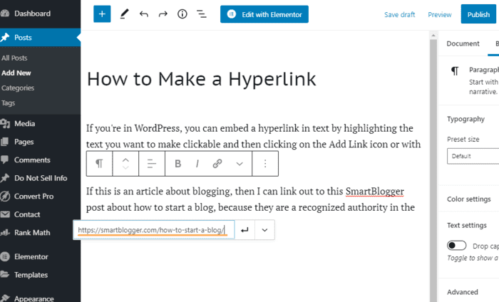 how to make a hyperlink paste URL