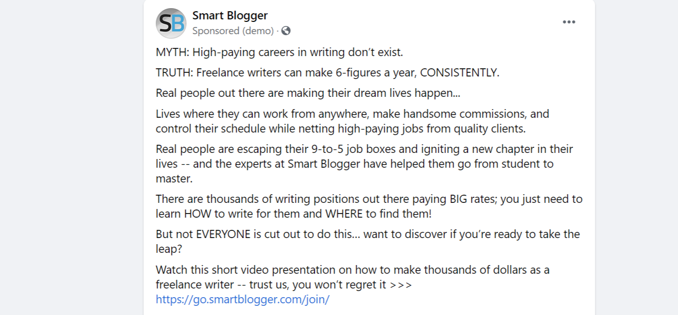 Facebook post written by copywriter
