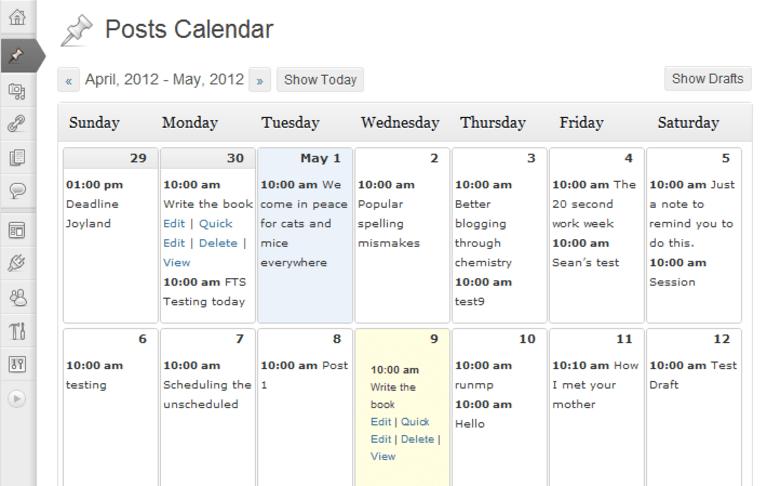 Editorial Calendar plugin for WordPress