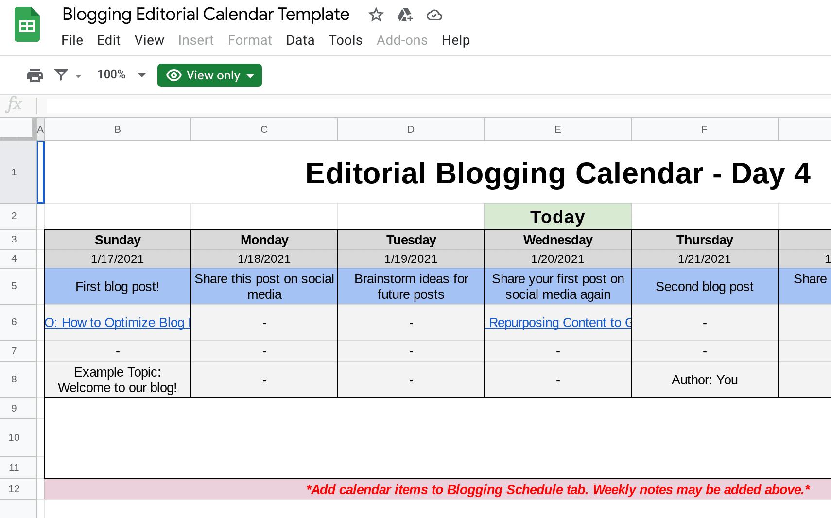 Editorial Calendar Template from WebFX