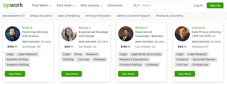 legal writing jobs upwork leagal freelancers