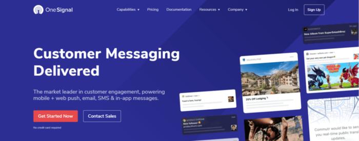 pushengage review onesignal homepage