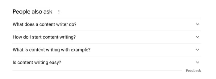 content writing google people also ask