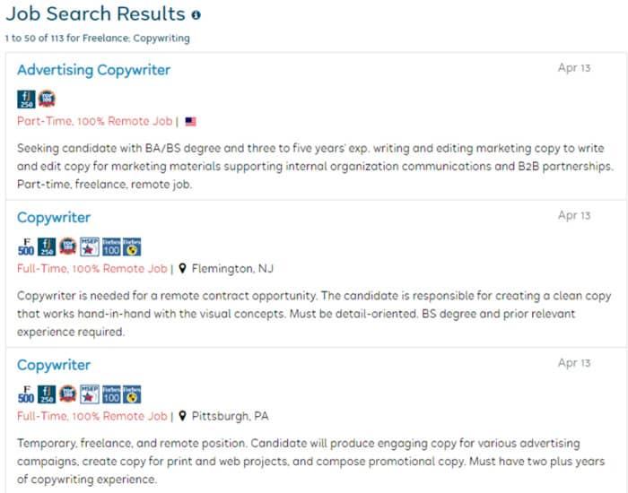 copywriting jobs flexjobs job listing