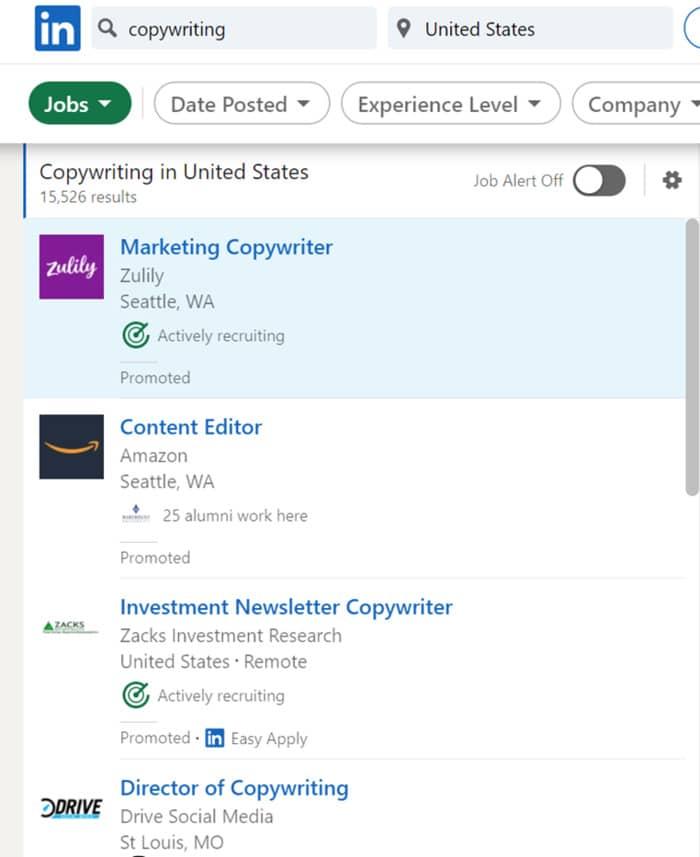 copywriting jobs linkedin job postings