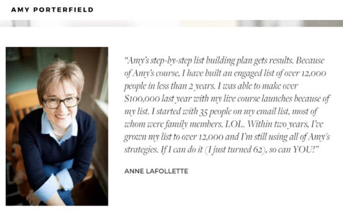 persuasive copy amy porterfield testimonial