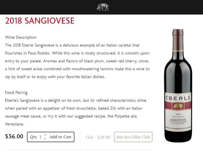 persuasive copy eberle winery product description webpage