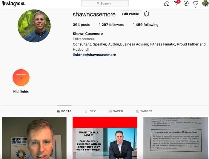 social media strategy instagram profile