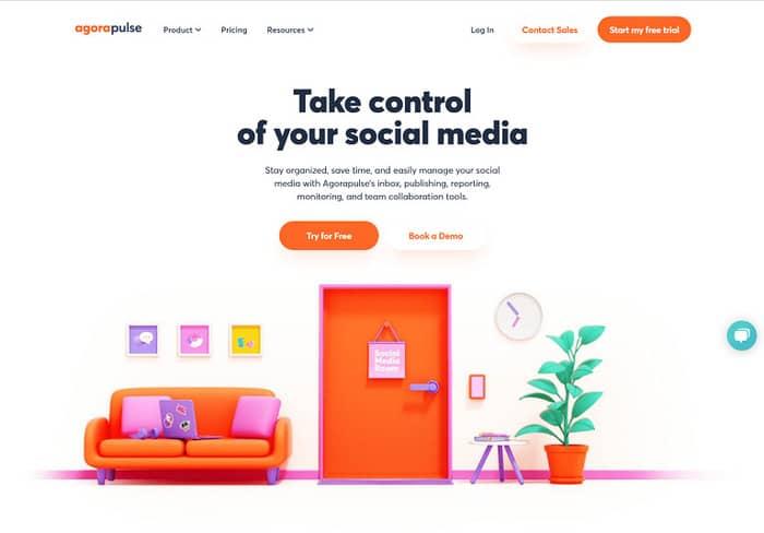 social media tools agorapulse homepage