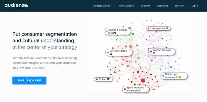 social media tools audiense homepage