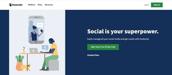 social media tools hootsuite homepage