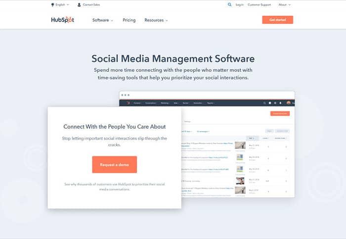 social media tools hubspot homepage