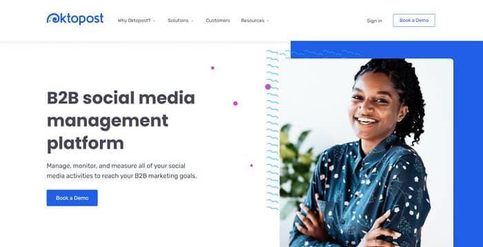 social media tools oktopost homepage