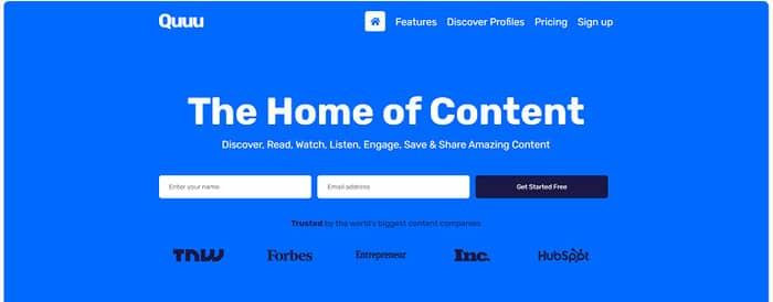social media tools quuu homepage