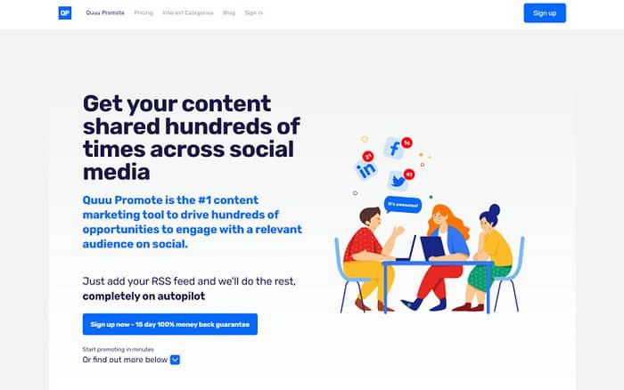social media tools quuu promote homepage