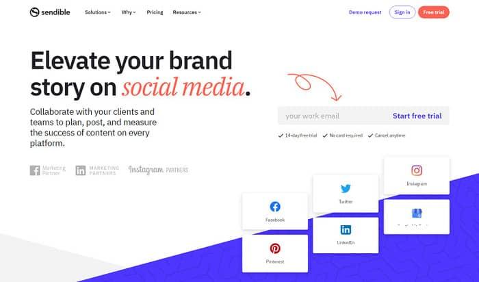 social media tools sendible homepage