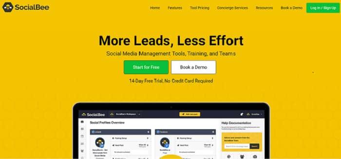 social media tools socialbee homepage