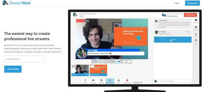 social media tools streamyard homepage