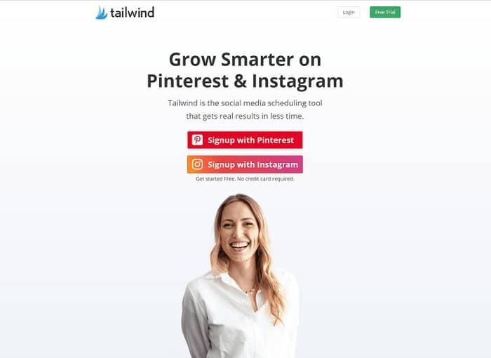 social media tools tailwind homepage