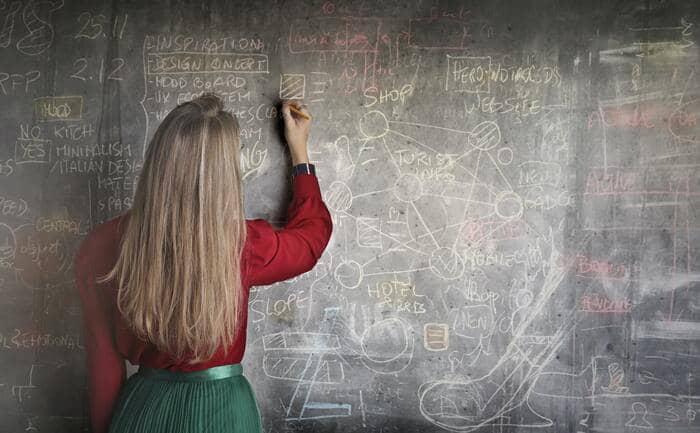 writing skills woman teaching complex problem on chalkboard
