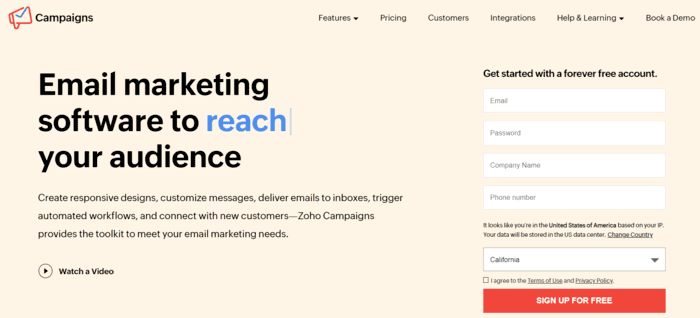 free email marketing services zohocampaigns
