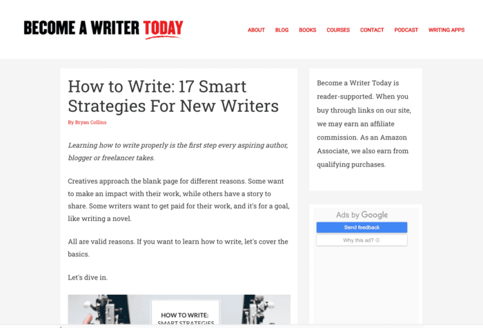 freelance writing sites become a writer today screenshot