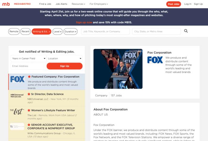 freelance writing sites mediabistro screenshot