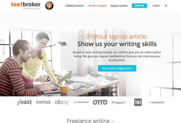 freelance writing sites textbroker homepage screenshot