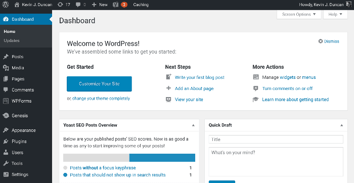 Start a blog - WordPress dashboard