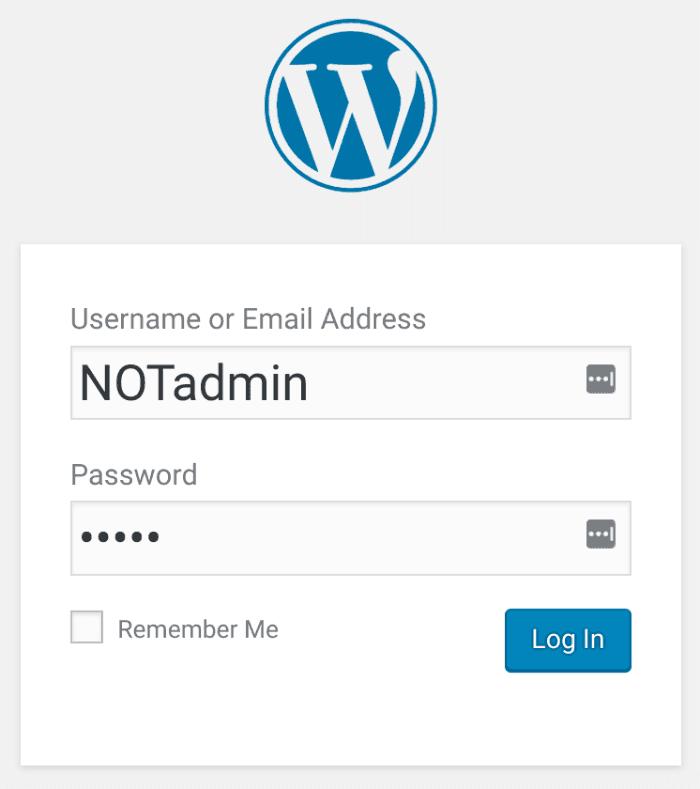 Starting a Blog - WordPress login
