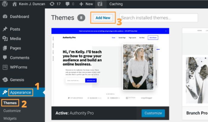 Start a blog - WordPress Theme Step 1